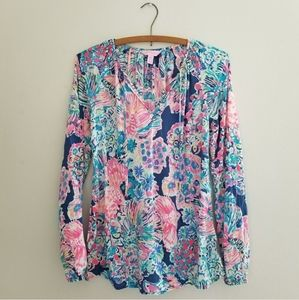 Lilly Pulitzer gypsea floral blouse size xxs / xs